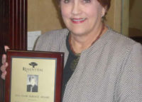Beverly Fowler receives her 10 year anniversary commemorative plaque April 2008