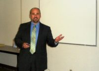 Burk Rosenthal presents 401(k) and pension information to Lockheed employees at the LMRA August 2011